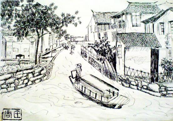 速写古镇的房子风景速写风景速写作品风景速写